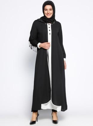 Taş İşlemeli Elbise - Siyah Krem