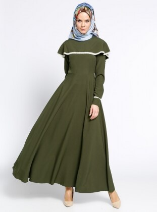 Volanlı Elbise - Haki