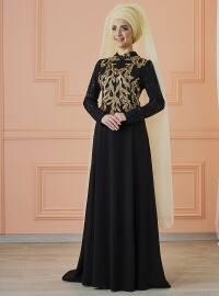 Mevra Anka Abiye Elbise - Siyah Gold - Mevra