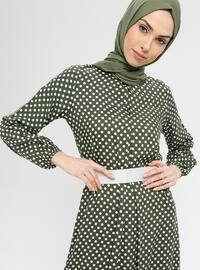 Khaki - Polka Dot - Crew neck - Unlined - Dress - BAGİZA