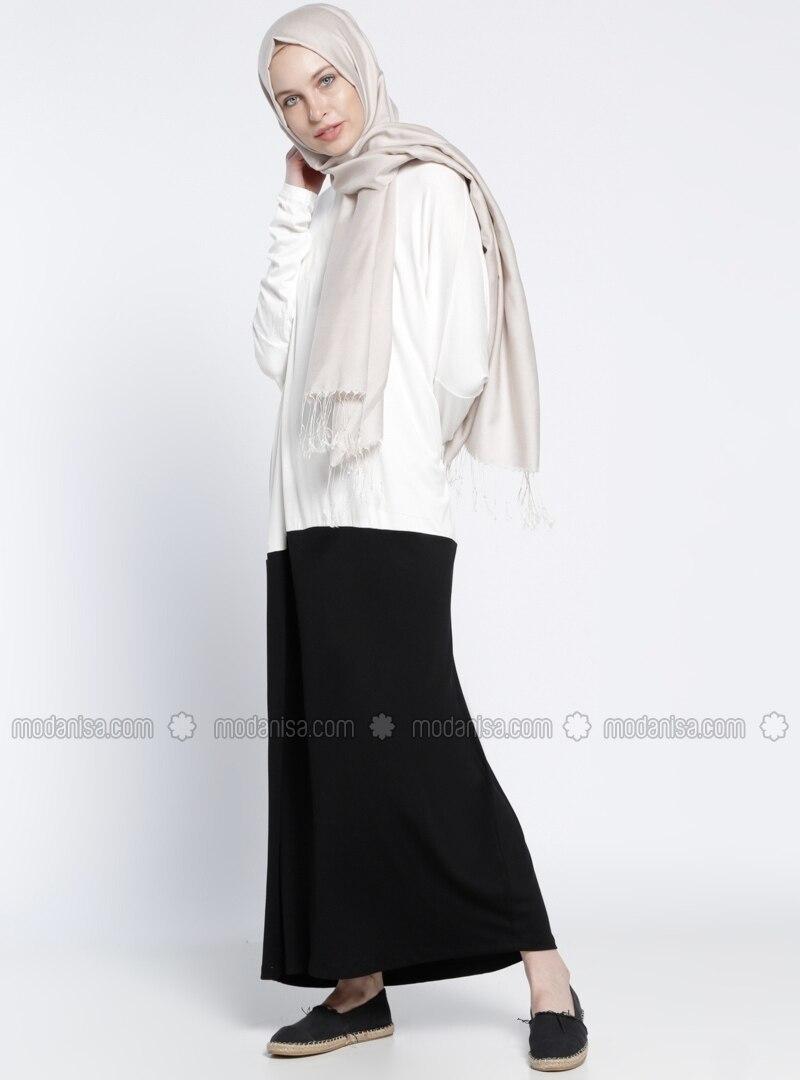 Everyday Noir Robe Non Doublé Blanc Tissu Col Rond Basic dCBoeWrx