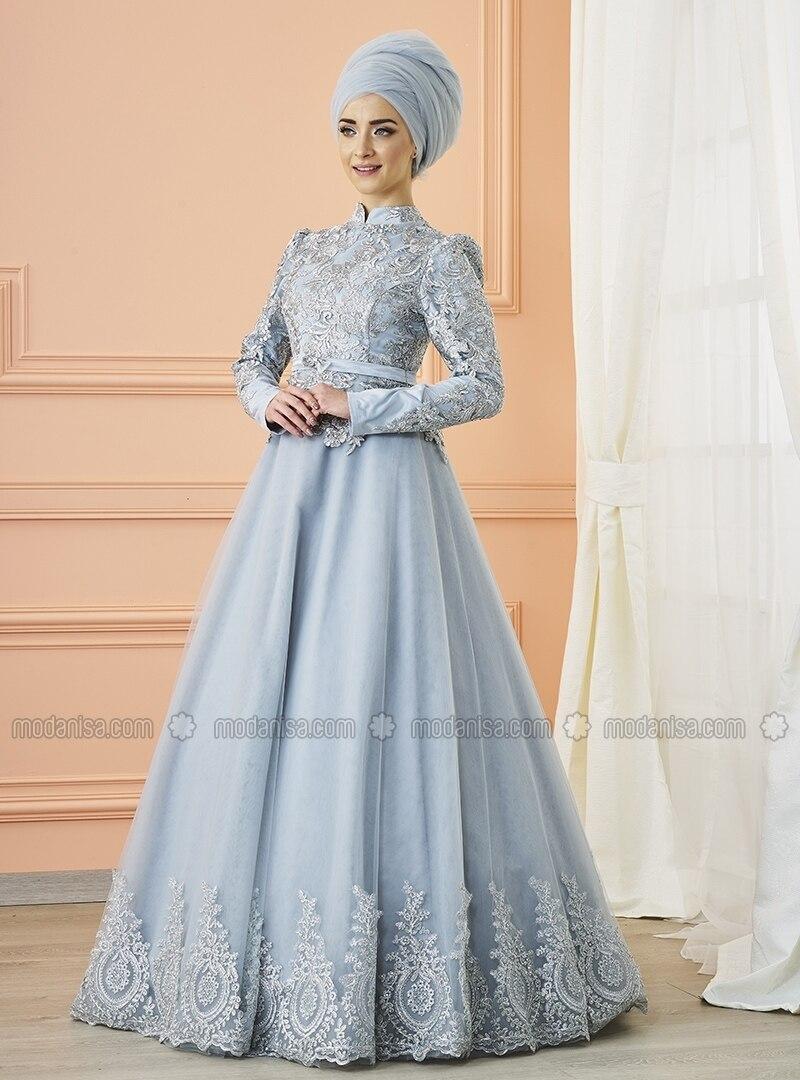 Crew neck - Fully Lined - Silver tone - Muslim Evening Dress - Mevra