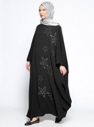 Drop Baskılı Elbise Ferace - Siyah