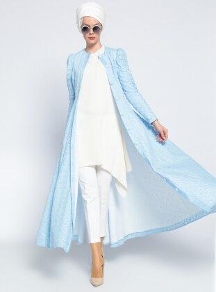 Düğmeli Ferace Elbise - Buz Mavisi