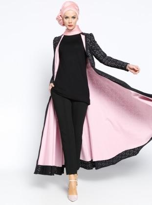 Düğmeli Ferace Elbise - Siyah Pembe