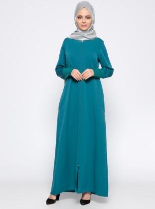 Fermuarlı Ferace - Zümrüt Yeşili ModaNaz