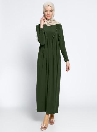 Fırfırlı Robadan Elbise - Haki