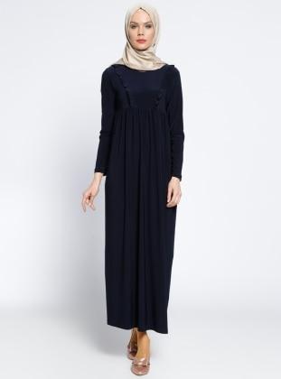 Fırfırlı Robadan Elbise - Lacivert