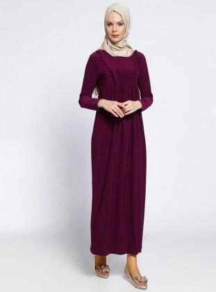 Fırfırlı Robadan Elbise - Mor