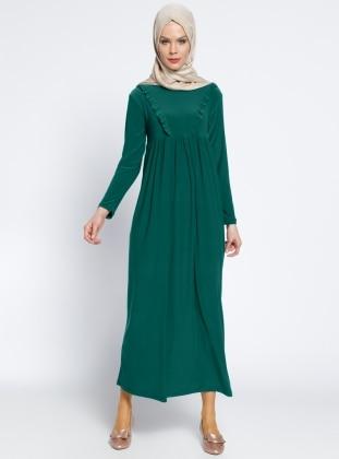 Fırfırlı Robadan Elbise - Zümrüt