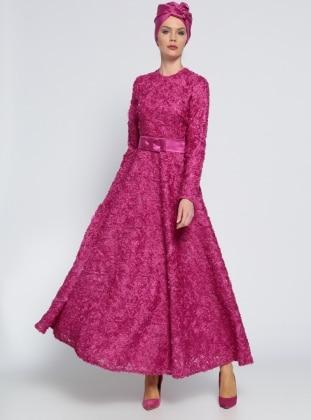Mustafa Dikmen Fiyonk Detaylı Abiye Elbise - Fuşya