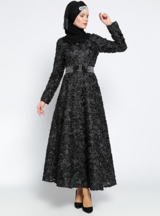 Fiyonk Detaylı Abiye Elbise - Siyah