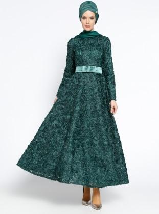 Fiyonk Detaylı Abiye Elbise - Zümrüt