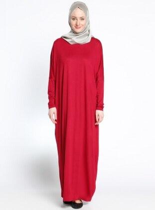 Eflatun Yarasa Kollu Elbise - Kırmızı