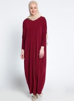 Yarasa Kollu Elbise - Koyu Bordo