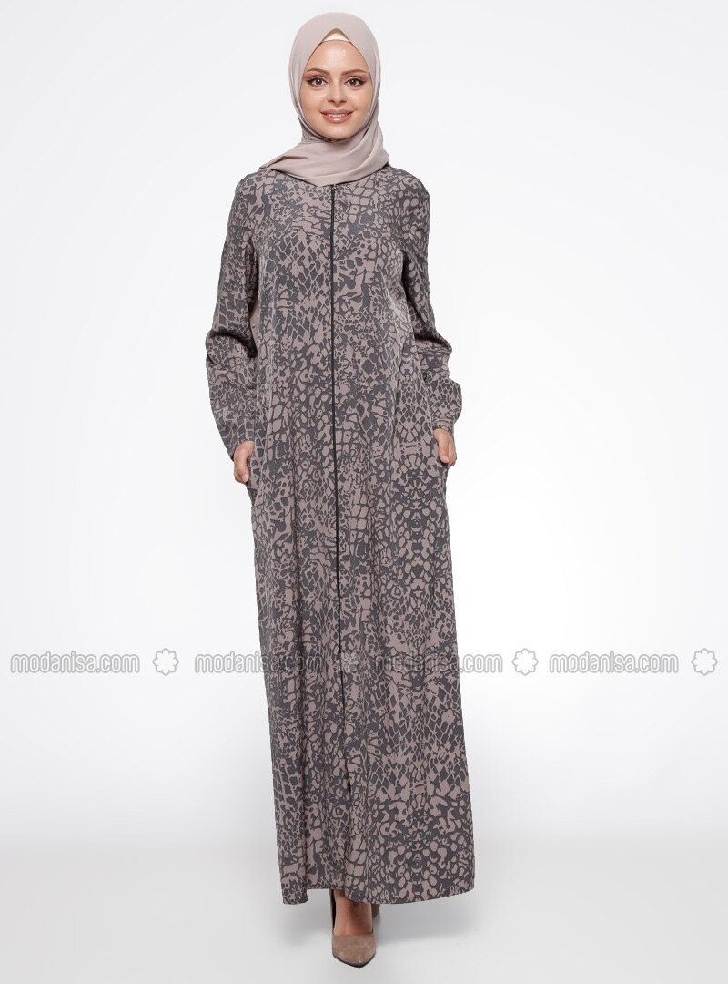 Black - Gray - Multi - Unlined - Crew neck - Abaya