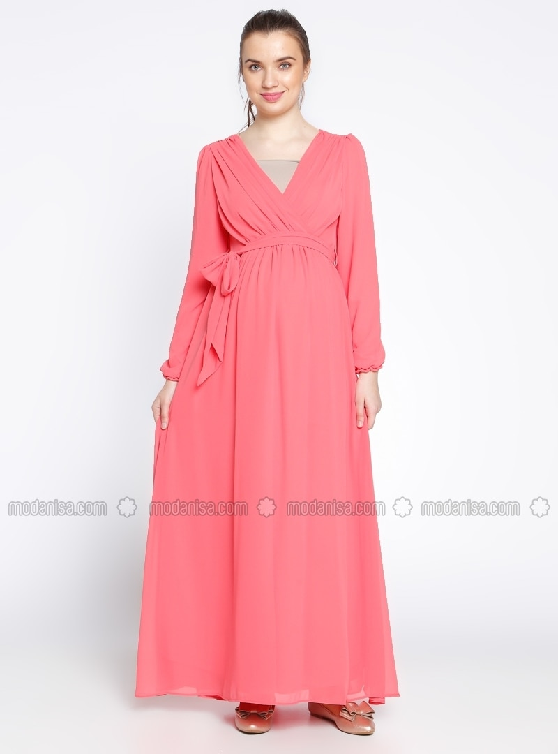 Neck collar coral fully lined maternity dress gr sin v neck collar coral fully lined maternity dress gr sin ombrellifo Image collections