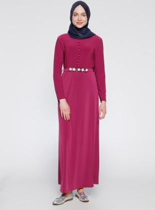 Brit Detaylı Elbise - Fuşya