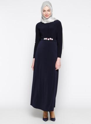 Brit Detaylı Elbise - Lacivert