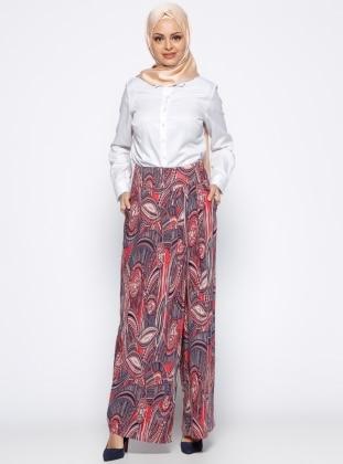 Desenli Pantolon Etek - Lacivert Kırmızı Appleline