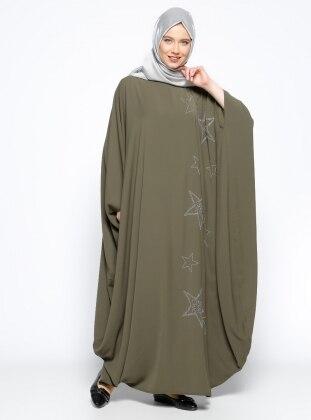 Drop Baskılı Elbise Ferace - Haki