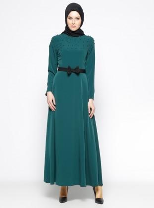 İnci Detaylı Elbise - Zümrüt
