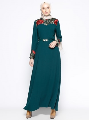 Fully Lined - Crew neck - Green - Dress