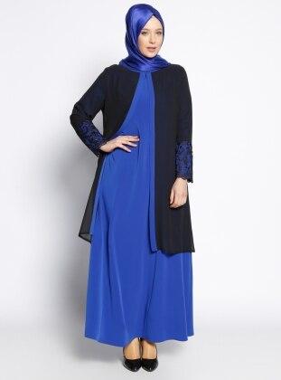 Kolu Dantelli Abiye Elbise - Saks Siyah