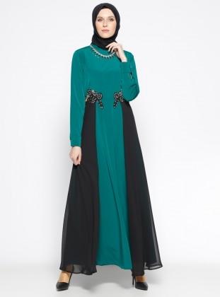 Taş Detaylı Abiye Elbise - Yeşil