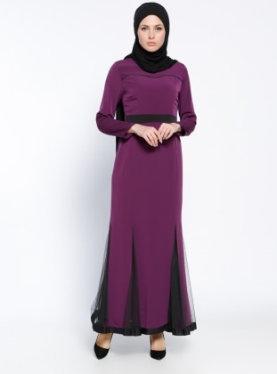 Purple - Crew neck - Fully Lined - Muslim Evening Dress