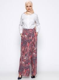 Appleline Desenli Pantolon Etek - Lacivert Kırmızı - Appleline