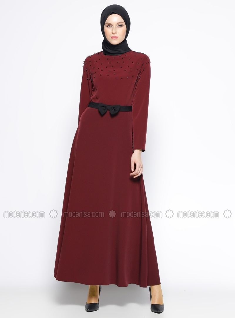 Fully Lined - Crew neck - Maroon - Dress