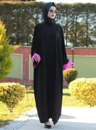 Ferace Elbise - Fuşya Siyah