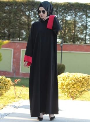Ferace Elbise - Kırmızı Siyah