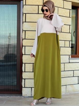 Ferace Elbise - Yeşil Krem