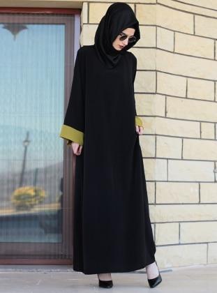 Ferace Elbise - Yeşil Siyah Gabra