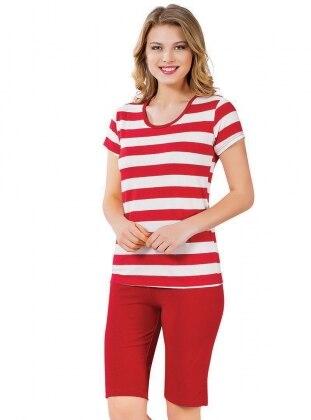 Kapri Pijama Takımı - Kırmızı Beyaz