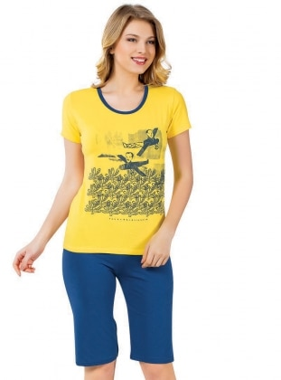 Kapri Pijama Takımı - Sarı Mavi