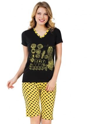Kapri Pijama Takımı - Siyah Sarı