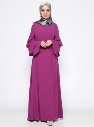 Pink - Purple - Crew neck - Fully Lined - Dress