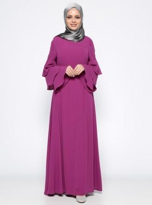 Kolları Volanlı Elbise - Erguvan