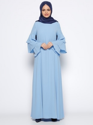 Kolları Volanlı Elbise - Mavi