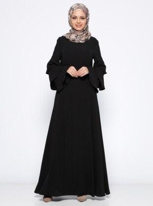 Kolları Volanlı Elbise - Siyah