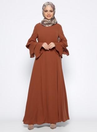 Kolları Volanlı Elbise - Taba