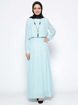 Kolyeli Elbise - Mavi