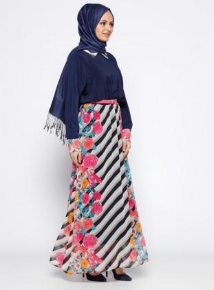 Yarasa Kollu Elbise - Fuşya Lacivert