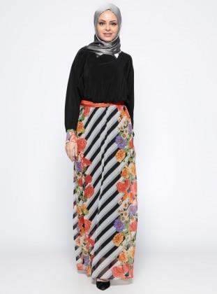 Eva Fashion Yarasa Kollu Elbise - Turuncu Siyah