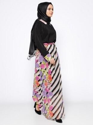 Yarasa Kollu Elbise - Mor Siyah
