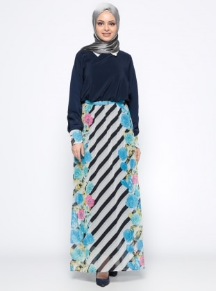 Yarasa Kollu Elbise - Mavi Lacivert