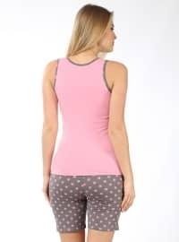 Polka Dot - Crew neck - Gray - Pink - Pyjama